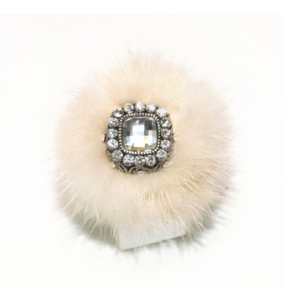 MINK FUR AND SWAROVSKI RING CRYSTALS IN WHITE