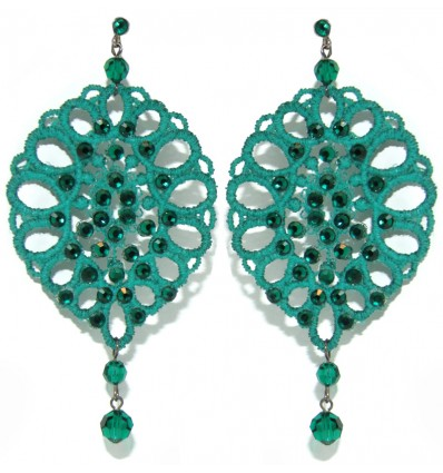 POMEGRANATE MACRAME' EARRINGS IN GREEN