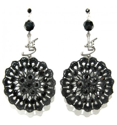 "DESERT ROSE MACRAME' ""SLE"" EARRINGS IN BLACK"