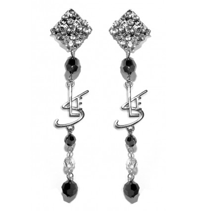 RENAISSANCE- SWAROVSKI EARRINGS IN BLACK