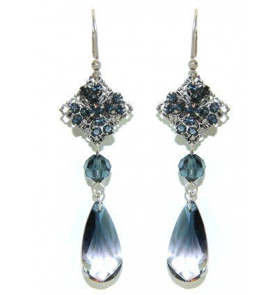 RENAISSANCE- SWAROVSKI PENDANTS EARRINGS IN BLUE
