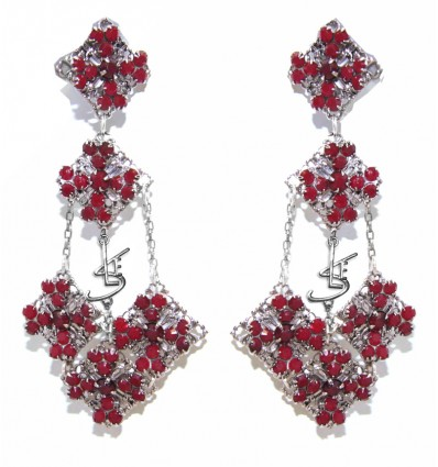 RENAISSANCE- SWAROVSKI FILIGREE EARRINGS IN RED