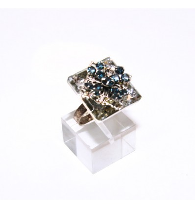 RENAISSANCE- SWAROVSKI AND FILIGREE RING IN CRYSTAL AND BLU MONTANA