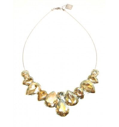 CROWN- CRYSTAL STONES NECKLACE IN GOLD