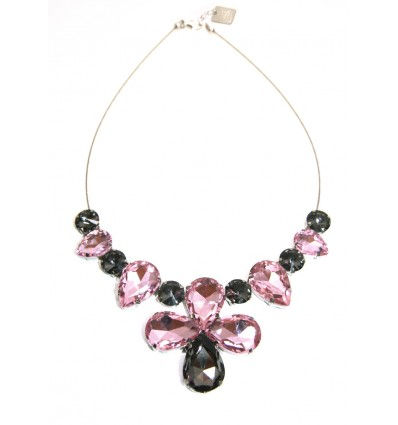 CROWN- CRYSTAL STONES NECKLACE IN PINK