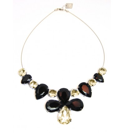 CROWN- CRYSTAL STONES NECKLACE IN BRONZE