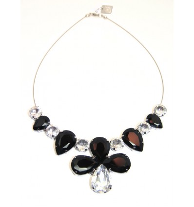 CROWN- CRYSTAL STONES NECKLACE IN BLACK