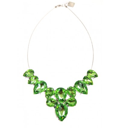 CROWN- CRYSTAL STONES NECKLACE IN GREEN