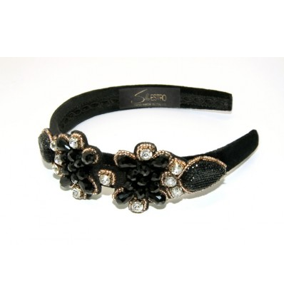 EMBROIDERED HEADBAND IN BLACK VELVET  WITH CRYSTAL STONES