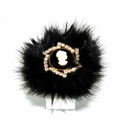 MINK FUR AND CAMEO JEWELRY RING IN BLACK