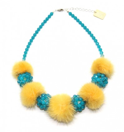 FUR AND SWAROVSKY NECKLACE IN YELLOW/TURQUOISE