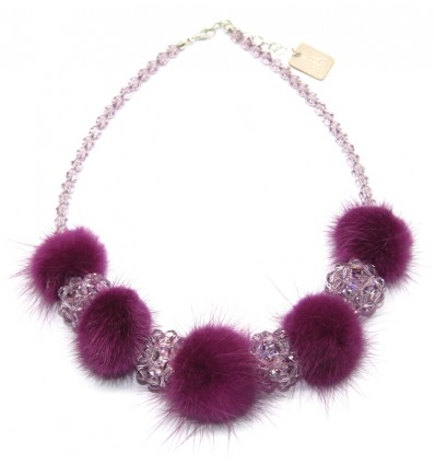 FUR AND SWAROVSKY NECKLACE IN FUXIA