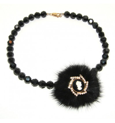 Edit: FUR AND SWAROVSKY CAMEO JEWELRY NECKLACE IN BLACK