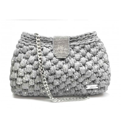 SILVER WOOLEN BAG WITH CRYSTALS