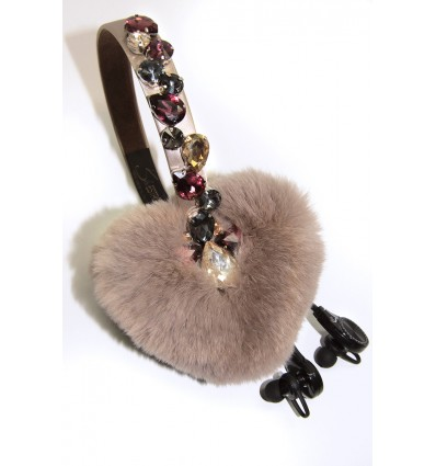 """HEARTS"" FUR CRYSTALS EARMUFFS IN BEIGE– WIRELESS"