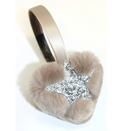 CRYSTAL STAR , FUR HEART EARMUFFS IN BEIGE