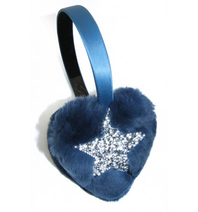 CRYSTAL STAR, FUR HEART EARMUFFS IN BLUETTE