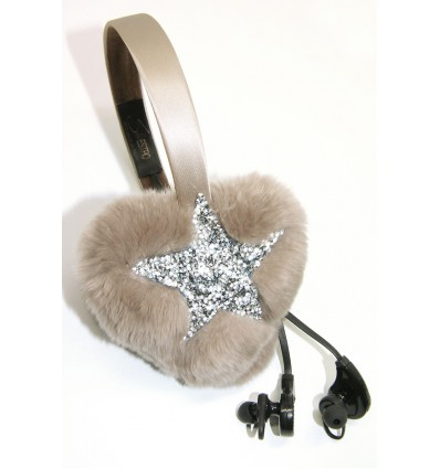 CRYSTAL STAR , FUR HEART EARMUFFS IN BEIGE-WIRELESS