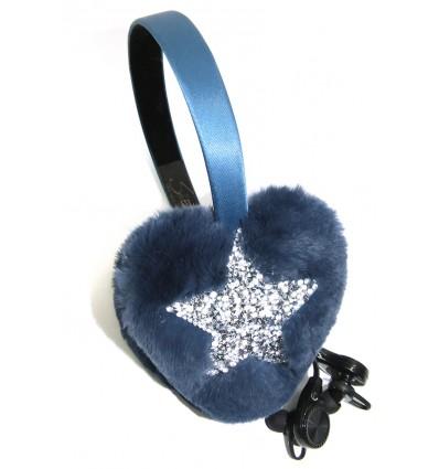 CRYSTAL STAR , FUR HEARTS EARMUFFS IN BLUETTE-WIRELESS