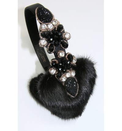 EMBROIDERED HEARTS MINK  FUR EARMUFFS IN BLACK