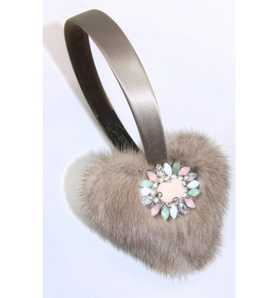EMBROIDERED HEARTS MINK FUR EARMUFFS IN TAUPE