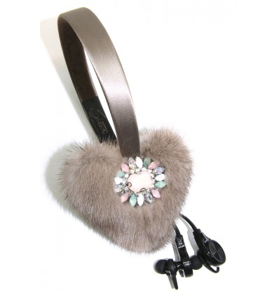 EMBROIDERED HEARTS MINK FUR EARMUFFS IN TAUPE -WIRELESS