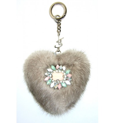"""SLE HEART""  KEYRING IN TAUPE"